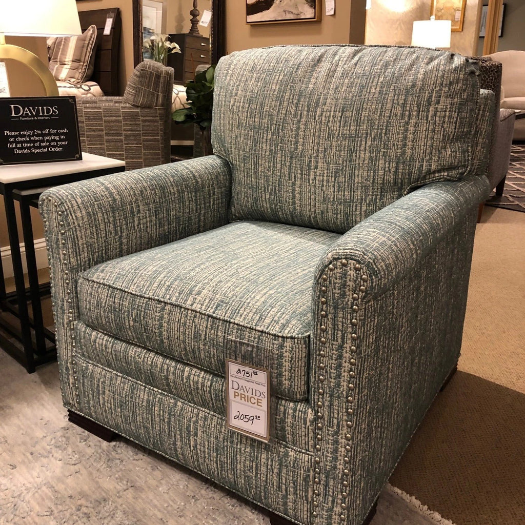 Sherrill Fabric Chair and Ottoman Sherrill Orilla Turquoise Lounge Chair