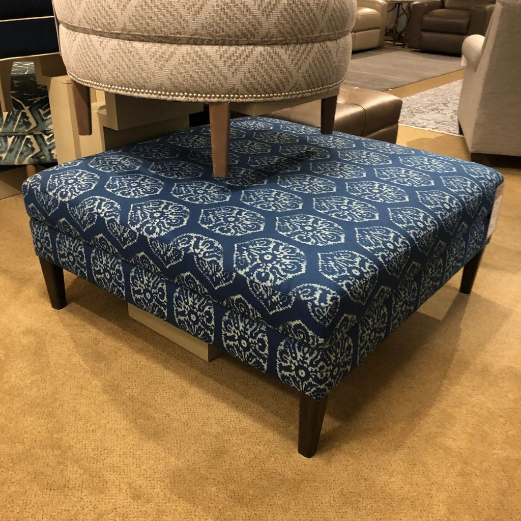 Bassett Fabric Chair and Ottoman Bassett Custom Upholstered Large Square Ottoman