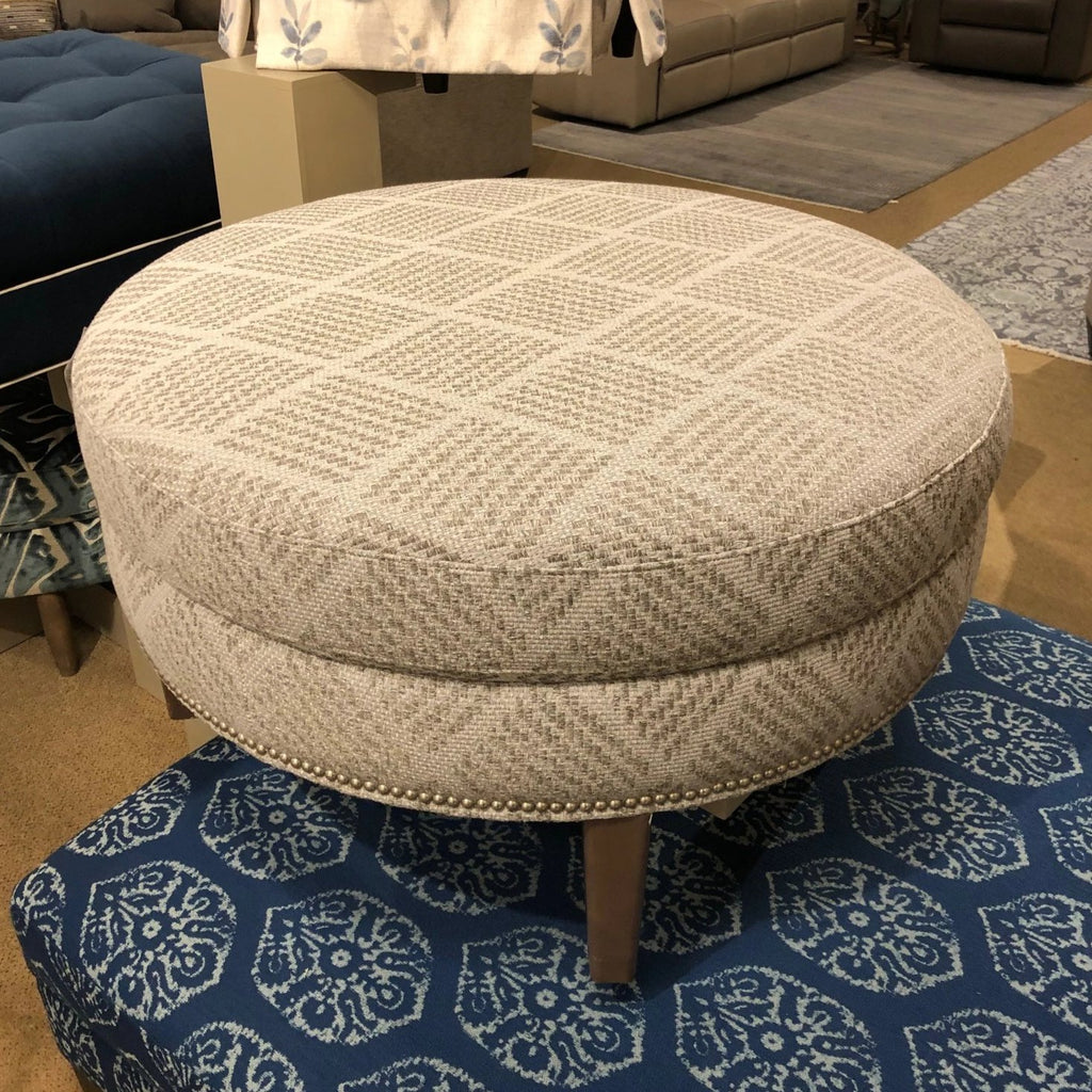 Bassett Fabric Chair and Ottoman Bassett Custom Upholstered Medium Round Ottoman