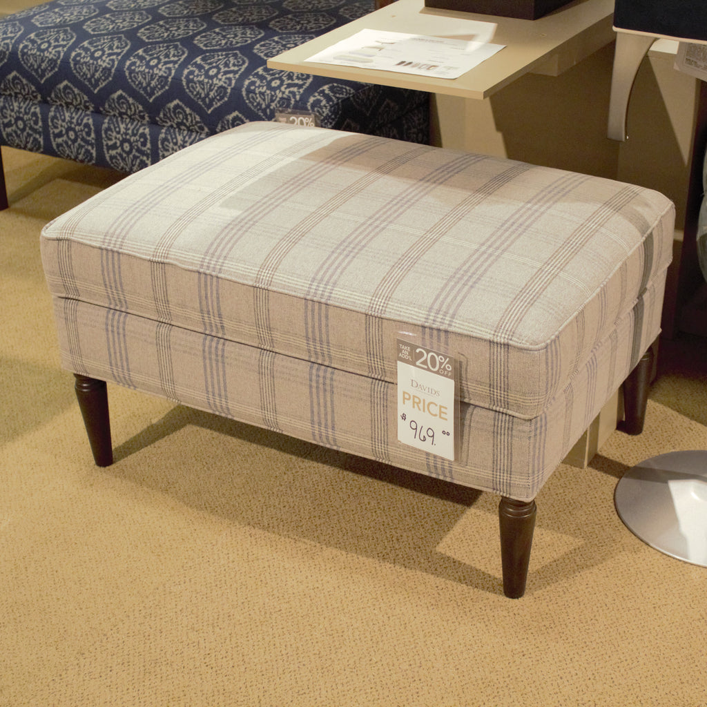 Bassett Fabric Chair and Ottoman Bassett Woven Plaid Denim Rectangle Ottoman
