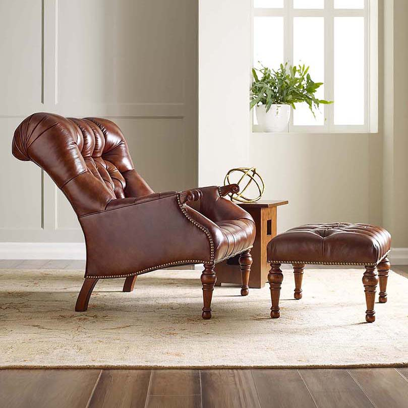 Stickley Leather Chair and Ottoman Stickley Leopold's Chair