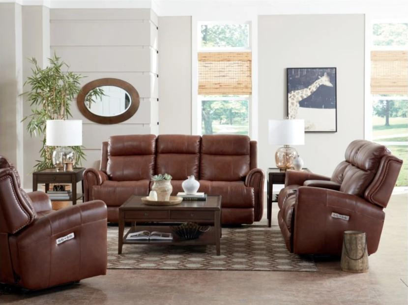 Bassett Club Level Marquee Leather Umber Power Reclining Sofa with Power Headrest