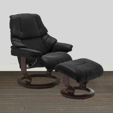 Ekornes Leather Recliner and Ottoman Ekornes Stressless Reno Medium Paloma Recliner and Ottoman