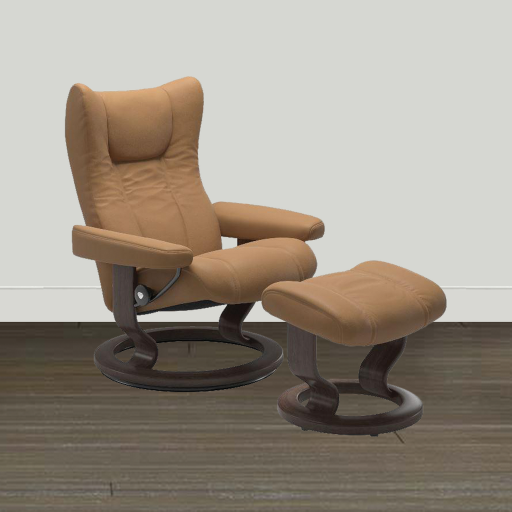 Ekornes Leather Recliner and Ottoman Ekornes Stressless Wing Large Classic Paloma Chair and Ottoman