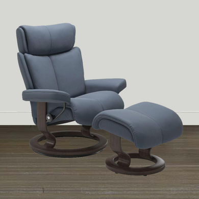 Ekornes Leather Recliner and Ottoman Ekornes Stressless Magic Medium Classic Paloma Recliner and Ottoman