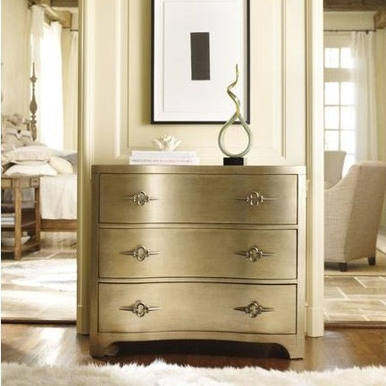 Madison Manor Occassional Chest Madison Manor Sanctuary Three-Drawer Shaped Front Gold Chest