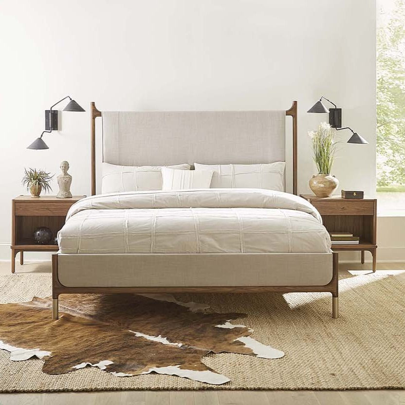 Stickley Walnut Grove Upholstered Bed