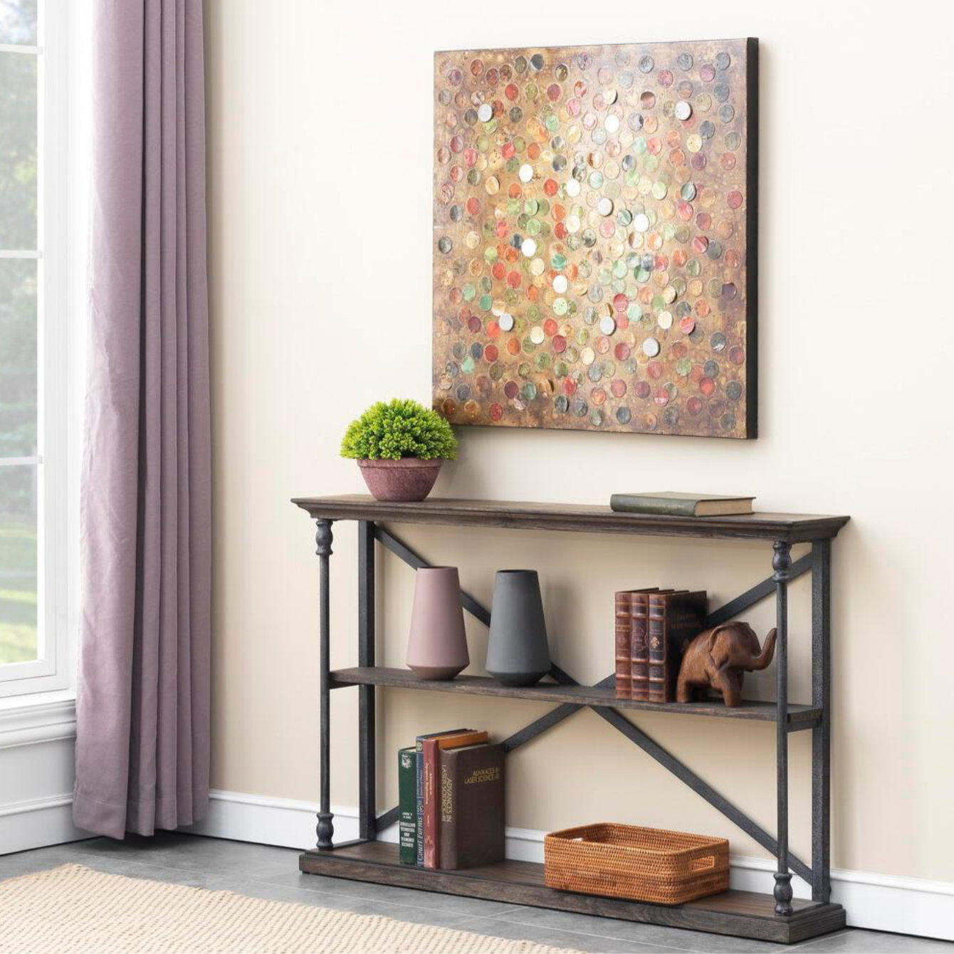 Treasures Corbin Brown Wood Console Table