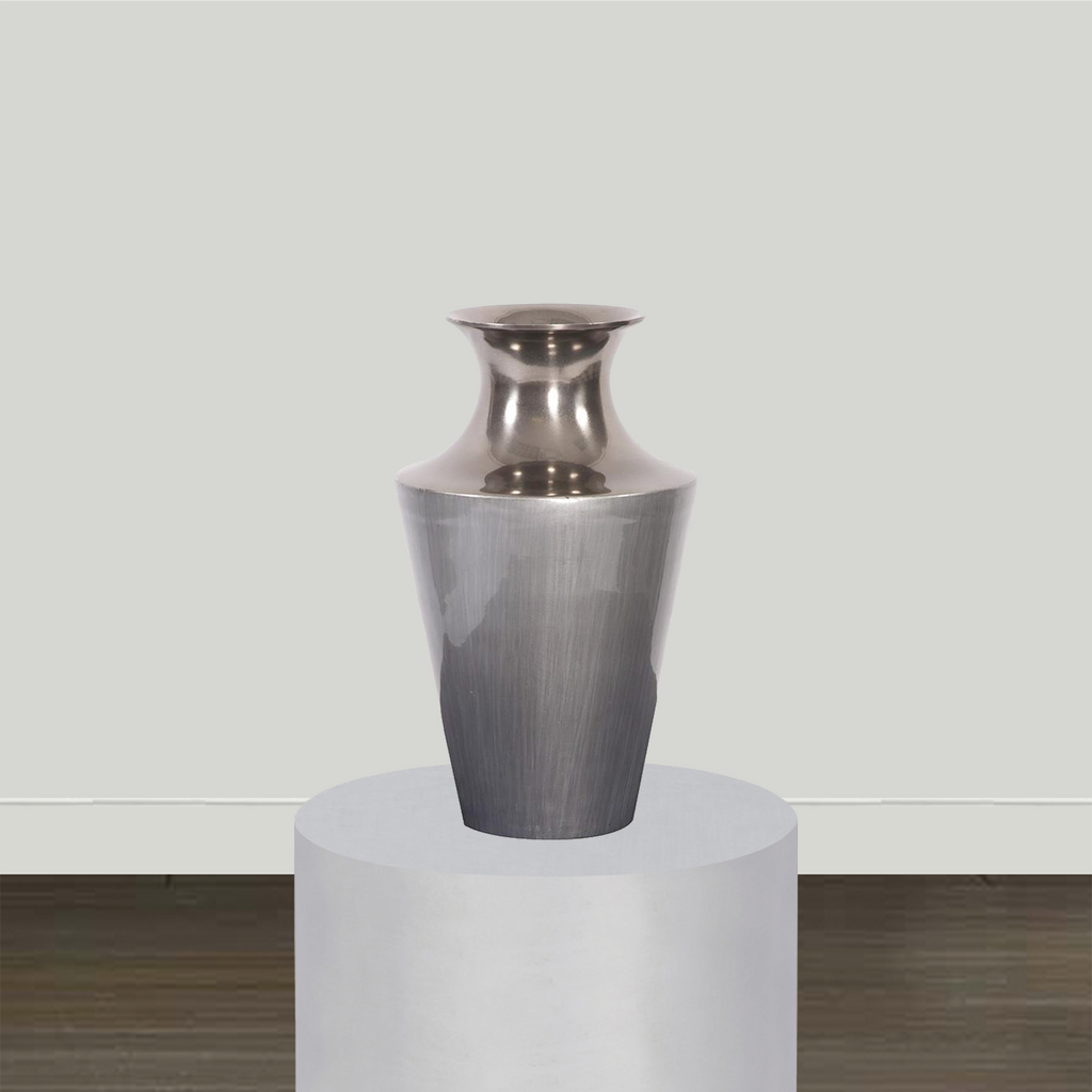 Howard Elliott Flared Aluminum Vase and Bowl with Gray Glaze