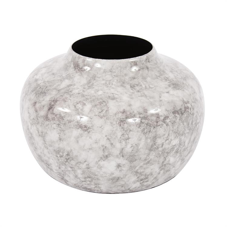 Howard Elliott Round Gray Marbled Iron Pod Vase, Small