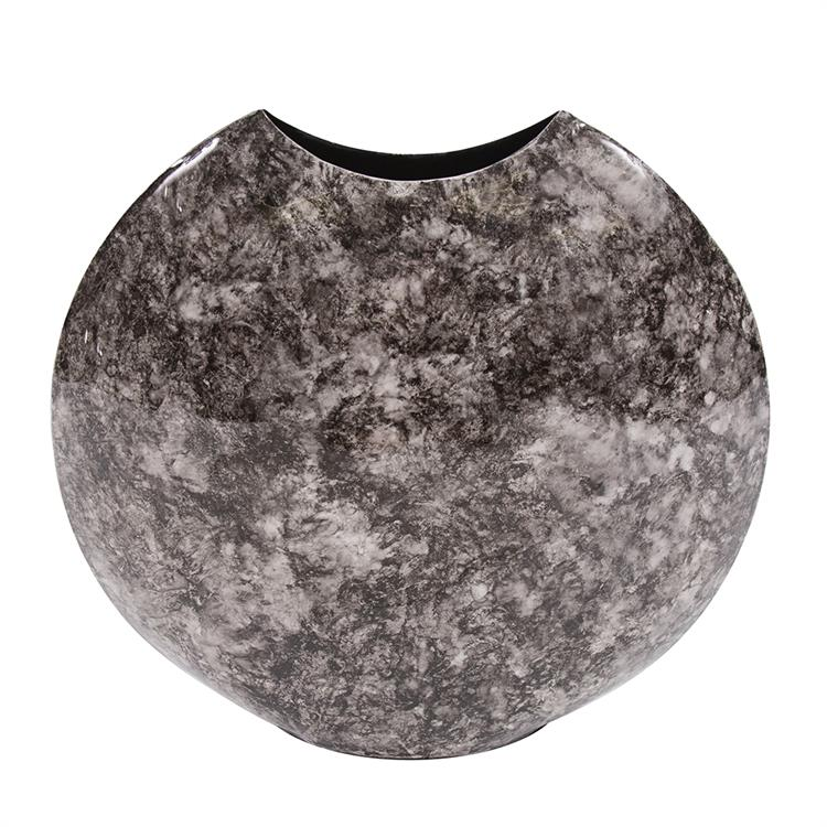 Howard Elliott Round Marbled Iron Disc Vase
