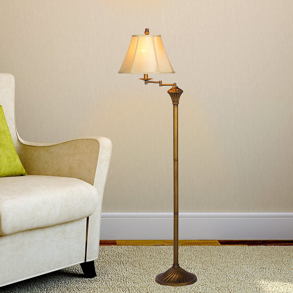 Fangio Lighting Lighting Fangio Lighting Antique Gold Swing Arm Floor Lamp