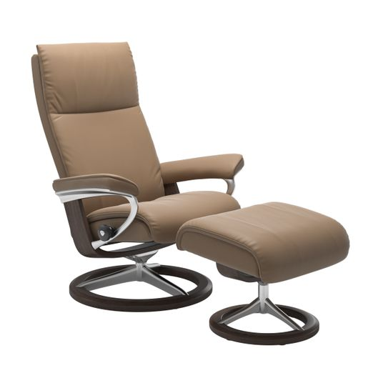 Ekornes Leather Recliner and Ottoman Stressless Quick Ship Aura Signature Base Recliner and Ottoman
