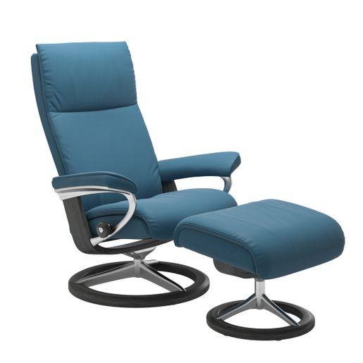 Stressless Quick Ship Aura Signature Base Recliner and Ottoman