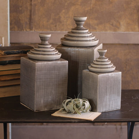 Textured Canisters/Set of 3