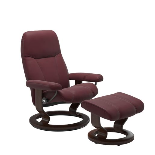 Ekornes Leather Recliner and Ottoman Stressless Quick Ship Consul Classic Base Recliner and Ottoman