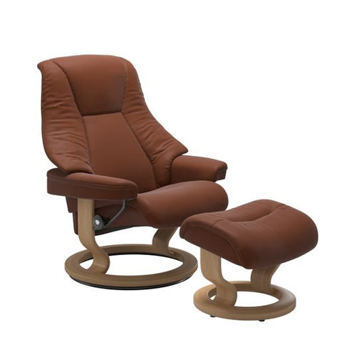Stressless Quick Ship Live Classic Base Recliner and Ottoman