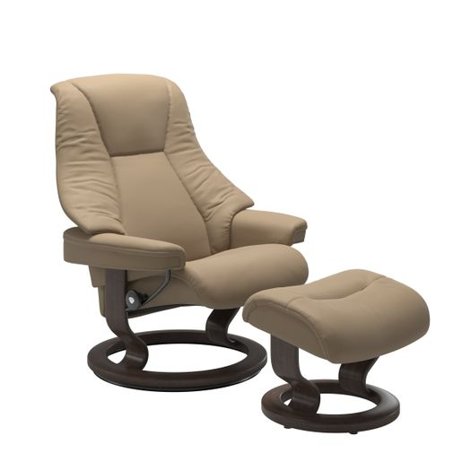 Ekornes Leather Recliner and Ottoman Stressless Quick Ship Live Classic Base Recliner and Ottoman