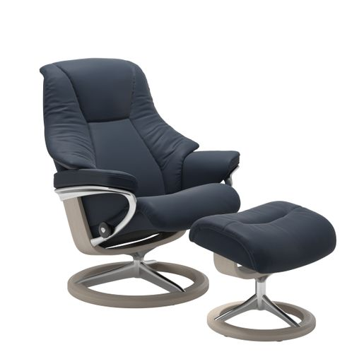 Stressless Quick Ship Live Signature Base Recliner and Ottoman