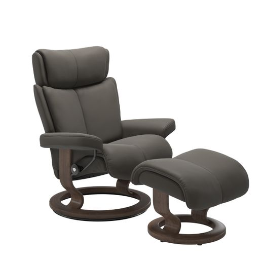 Ekornes Leather Recliner and Ottoman Stressless Quick Ship Magic Classic Base Recliner and Ottoman