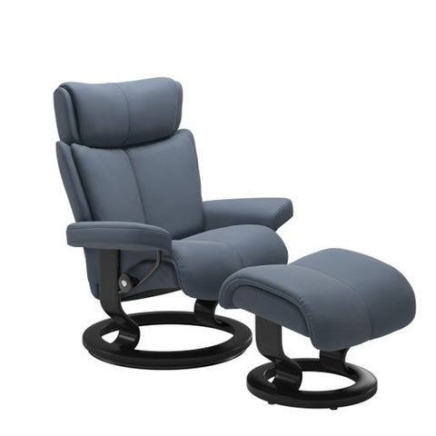 Stressless Quick Ship Magic Classic Base Recliner and Ottoman