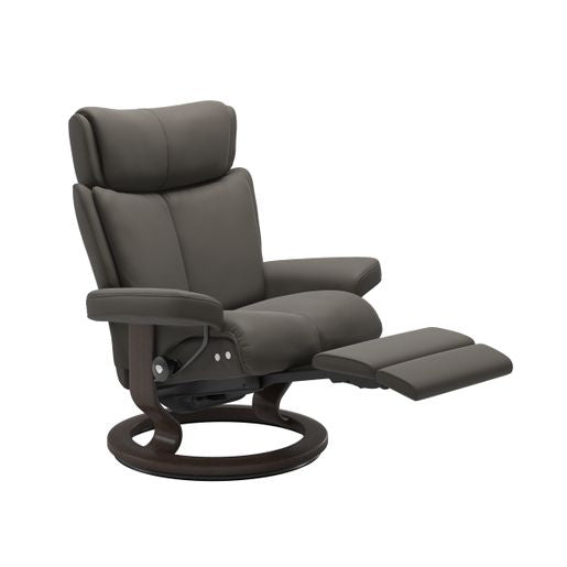 Ekornes Leather Recliner and Ottoman Stressless Quick Ship Magic LegComfort Base Recliner and Ottoman