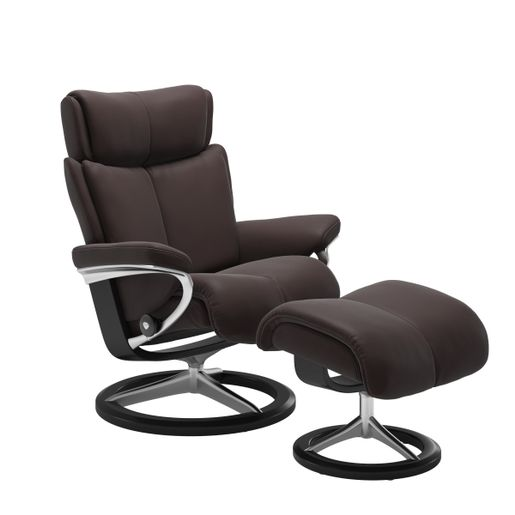 Ekornes Leather Recliner and Ottoman Stressless Quick Ship Magic Signature Base Recliner and Ottoman