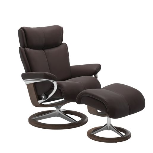 Stressless Quick Ship Magic Signature Base Recliner and Ottoman