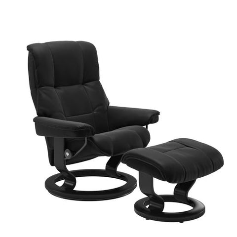 Stressless Quick Ship Mayfair Classic Base Recliner and Ottoman