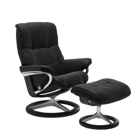 Stressless Quick Ship Mayfair Signature Base Recliner and Ottoman