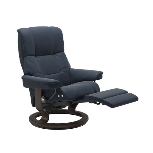 Ekornes Leather Recliner and Ottoman Stressless Quick Ship Mayfair LegComfort Base Recliner and Ottoman