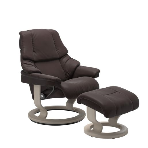 Stressless Quick Ship Reno Classic Base Recliner and Ottoman