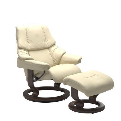 Ekornes Leather Recliner and Ottoman Stressless Quick Ship Reno Classic Base Recliner and Ottoman