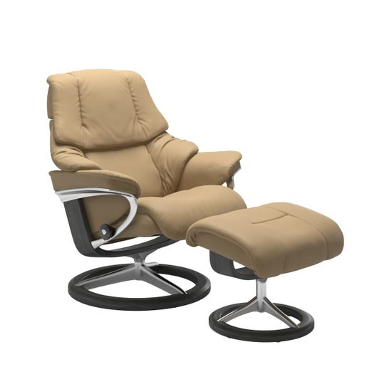 Stressless Quick Ship Reno Signature Base Recliner and Ottoman