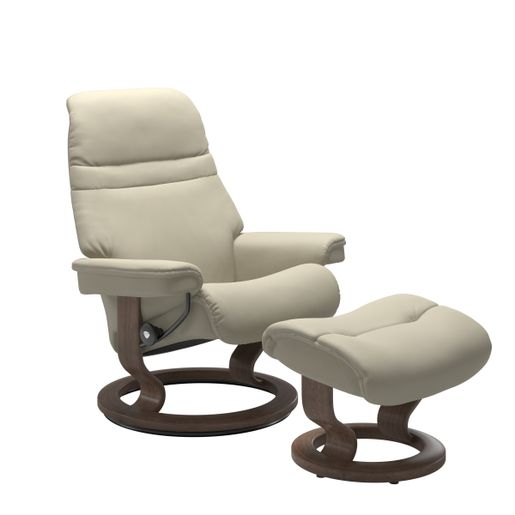 Stressless Quick Ship Sunrise Classic Base Recliner and Ottoman