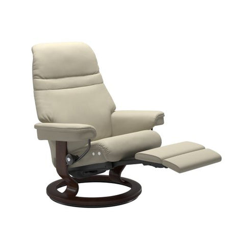Stressless Quick Ship Sunrise LegComfort Base Recliner and Ottoman