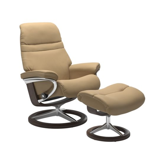 Stressless Quick Ship Sunrise Signature Base Recliner and Ottoman
