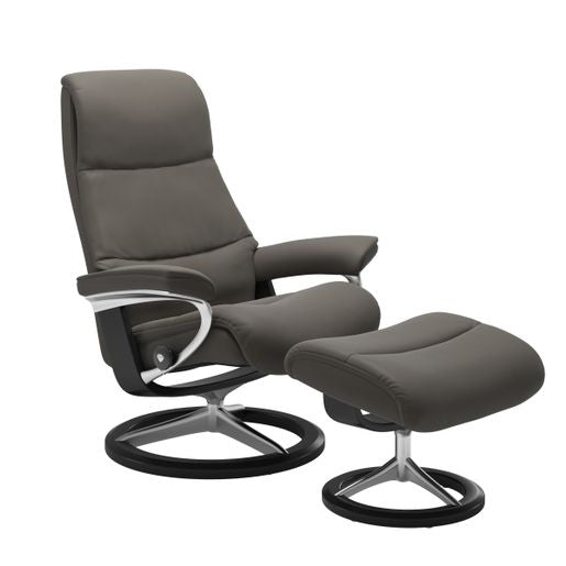 Stressless Quick Ship View Signature Base Recliner and Ottoman