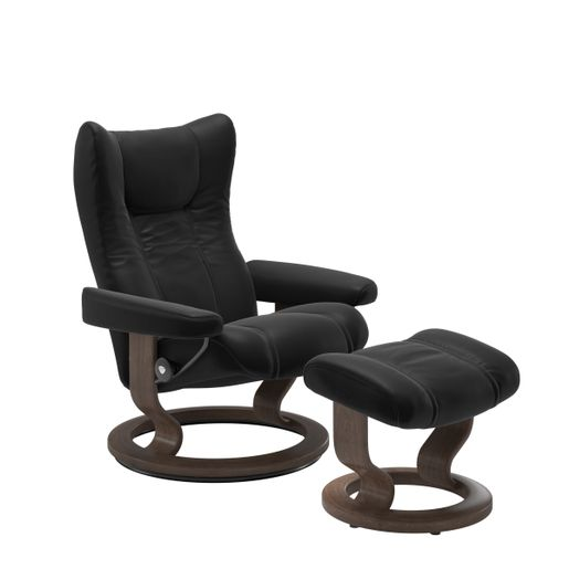 Stressless Quick Ship Wing Classic Base Recliner and Ottoman