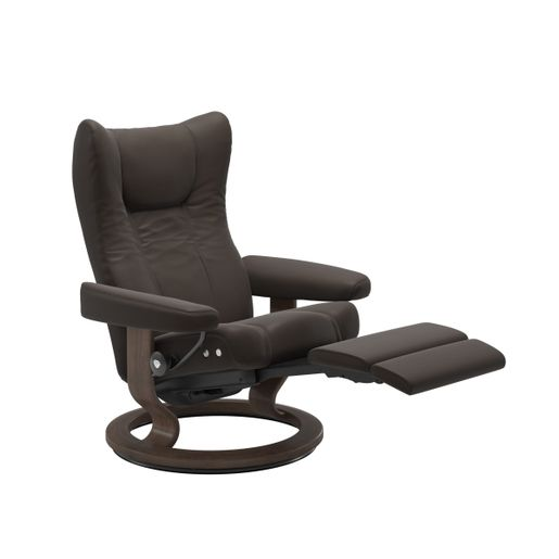 Ekornes Leather Recliner and Ottoman Stressless Quick Ship Wing LegComfort Base Recliner and Ottoman