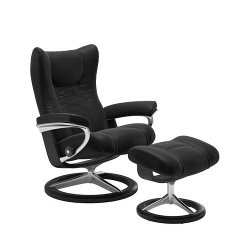 Stressless Quick Ship Wing Signature Base Recliner and Ottoman