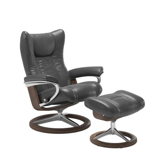 Ekornes Leather Recliner and Ottoman Stressless Quick Ship Wing Signature Base Recliner and Ottoman