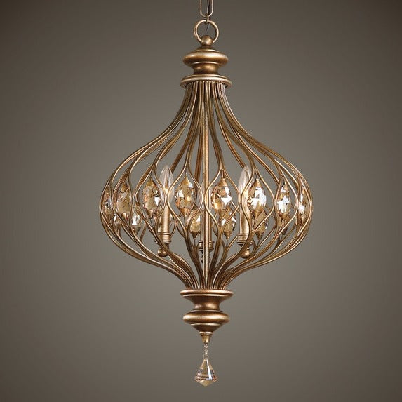 Uttermost Lighting Uttermost Sabina Three Light Gold Pendant