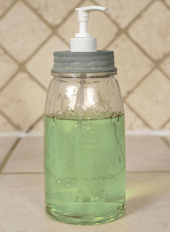 Mason Jar Quart  Soap Dispenser - Barn Roof Lid