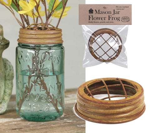 Mason Jar Flower Frog Lid - Antique Mustard