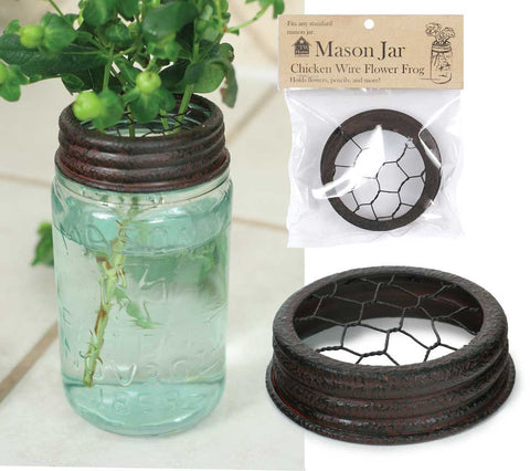 Mason Jar Flower Frog Lid - Chicken Wire Textured Brown
