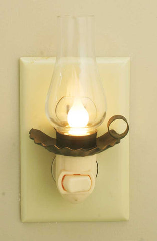 Penn's Grove Night Light with Chimney - Rustic Brown