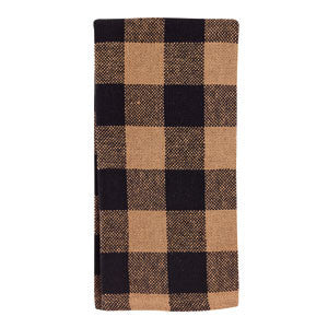 Checkered Black Cotton Burlap