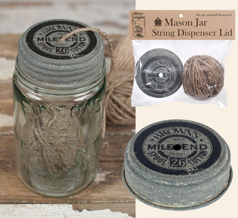 Mason Jar String Dispenser Lid with String