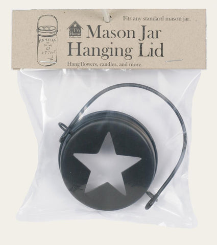 Hanging Mason Jar Lid Star Top